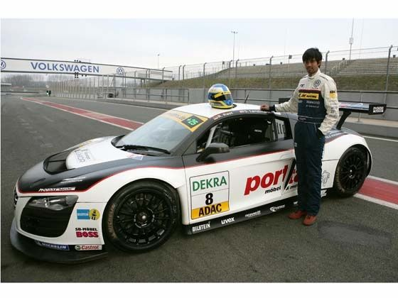 Aditya Patel with the Audi R8 LMS sports car