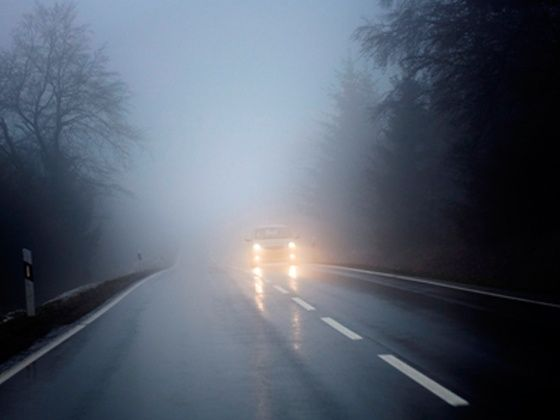 Driving on the highway in fog