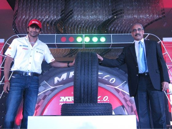 Narain Karthikeyan at the launch of the MRF ZLO