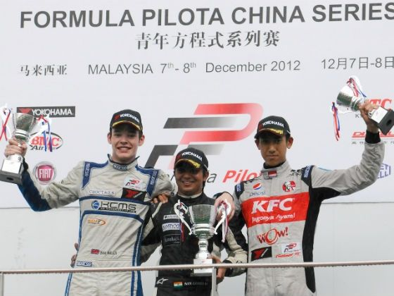 (Center) Parth Ghorpade Formula Pilota Asian Champion