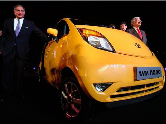Ratan Tata with the Tata Nano