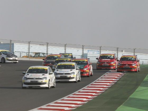 Prashant Tharani Singh in lead, Race 2, Round 6, VW Polo R Cup 2012