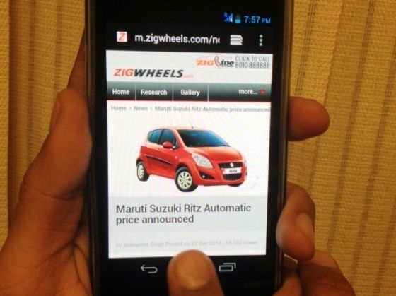ZigWheels mobile site