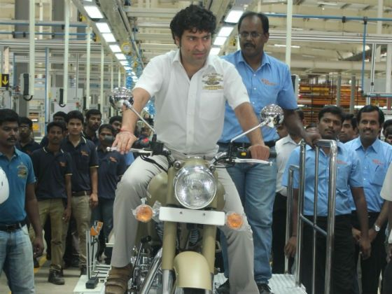 Siddhartha Lal rolling out the first bike from the new facility