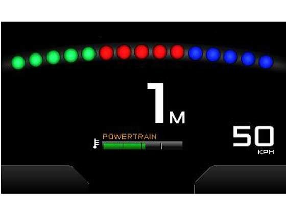 McLaren P1 digital dash readout in race mode