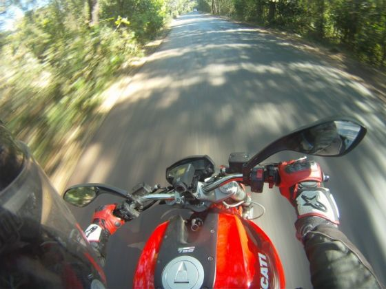 View astride the Monster 795