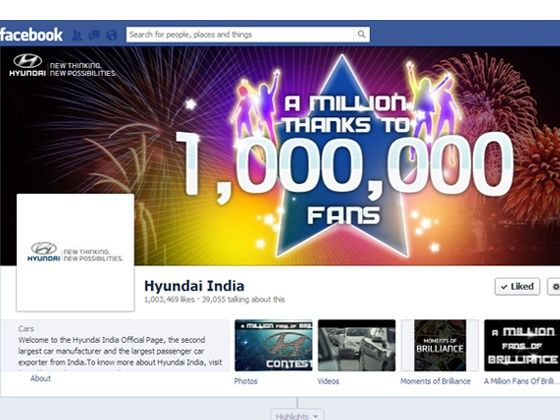 Hyundai India one million fb fans
