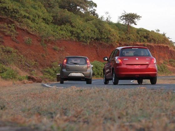 Chevrolet Sail U-VA and the Maruti Suzuki Swift rear