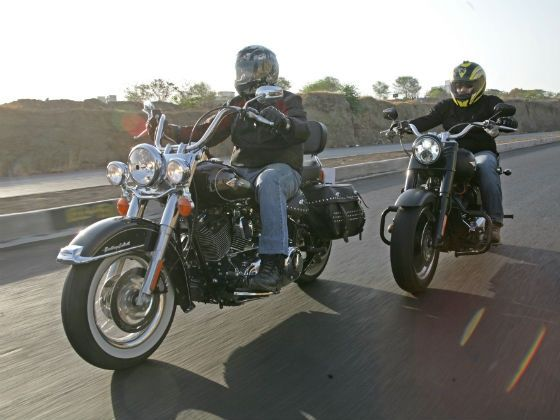 Harley-Davidson Softail Heritage and Fatboy Special in action