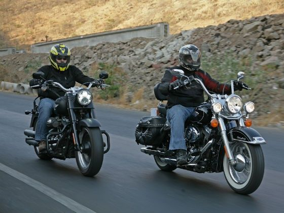 Harley-Davidson Fatboy and Softail Heritage in action