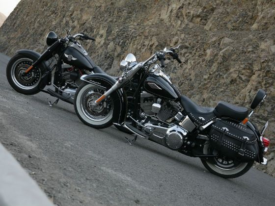 Harley-Davidson Fatboy and Softail Heritage static shot