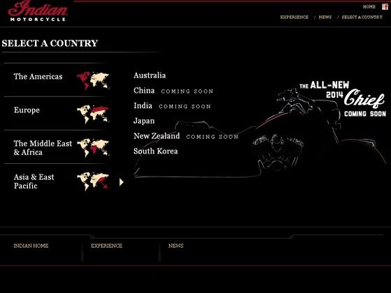 Screenshot of the Indian Motorcycle webpage