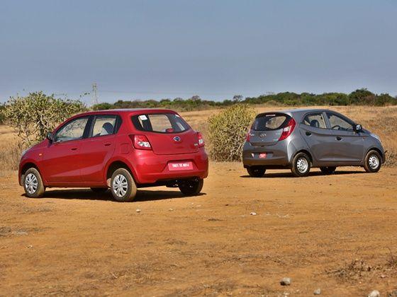 Datsun Go vs Hyundai Eon Comparison Rear