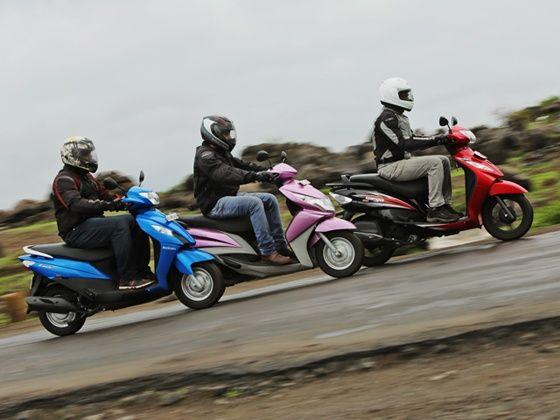 Suzuki Lets vs TVS Wego vs Yamaha Ray action shot