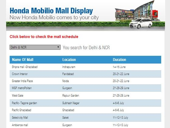 Honda Mobilio Delhi NCR Mall Schedule