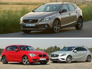 Volvo V40 Cross Country vs Mercedes-Benz A-Class vs BMW 1 Series Petrol Spec Comparison Review