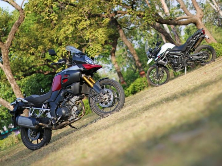 The V-Strom follows the typical adventure bike design