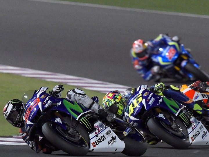 Jorge Lorenzo and Valentino Rossi racing