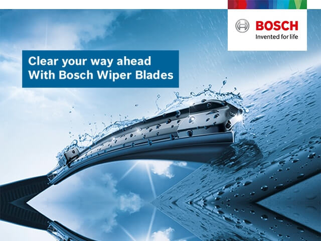 Bosch Wiper Blades <br> Clear vision for a truly safe drive at all times!
